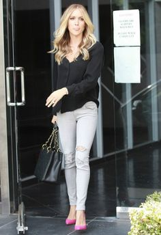 Kristin Cavallari wearing Rag & Bone Skinny jeans in Surrey with Holes Chinese Laundry by Kristin Cavallari Copertina Pumps in Bright Pink Chanel Caviar GST Shopping Bag in Black