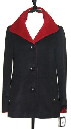 Ellen Tracy Coat  NWT Sz Small Black Red Front Button Closure Optional Fold Cuff