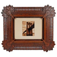 Superb Sunflower Cornered Tramp Art Folk Art Frame | From a unique collection of antique and modern sculptures and carvings at http://www.1stdibs.com/furniture/folk-art/sculptures-carvings/