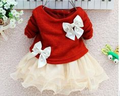 Red and off white christmas girls dress baby by LilAlexisBoutique, $49.99