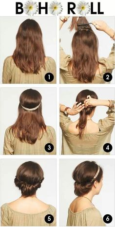 A nice Boho Hairstyle. Boho Hairstyles, Pretty Hairstyles, Summer Hairstyles, Hippie Style, Cute Everyday Hairstyles, Roll Hairstyle, Beehive Hairstyle, Pastel Hair, Great Hair