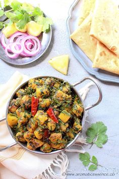 Aloo methi recipe with step-by-step pictures. How to prepare aloo methi, a simple yet delicious and wholesome vegetarian preparation. Aloo Methi Recipe, Methi Recipes, Gourmet Recipes, Healthy Recipes, Raw Potato, Aloo Gobi, Food For Thought, Indian Food Recipes, Food Print