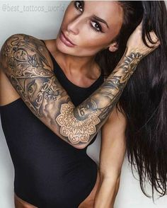 Smokey full sleeve tattoo via Georgina Hornsby *** the elbow transition tatoo would be cool to use something like this or something smialsnzskzm** Bad Tattoos, Best Sleeve Tattoos, Sexy Tattoos, Girl Tattoos, Arm Sleeve Tattoos For Women, Tattoo Sleeve Girl, Tattoo Arm, Female Tattoo Sleeve, Tattoos Pics