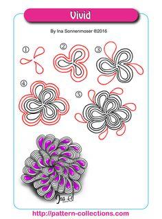 Vivid Tangle, Zentangle Pattern by Ina Sonnenmoser Zentangle Drawings, Doodles Zentangles, Doodle Drawings, Doodle Art, Zen Doodle, Doodle Designs, Doodle Patterns, Zentangle Patterns, Doodle Borders