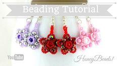 Twinkle Twinkle Earrings Beading Tutorial by HoneyBeads1 (with rounduo b...