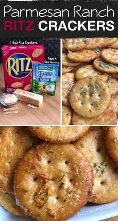 snack recipes Zesty Baked Ritz Crackers -- SO GOOD! (made with butter, ranch seasoning mix and parmesan). These are a family favorite snack idea, the kids love them. Perfect served with cheese or deli meat. Ritz Crackers, Seasoned Crackers, Ranch Crackers, Crackers Appetizers, Oyster Crackers, Meat Appetizers, Snack Mix Recipes, Appetizer Recipes, Cooking Recipes