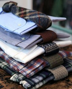 Shirts and wool ties combinations.