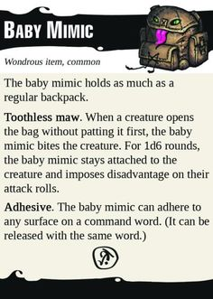 [ART] Why have a black cat when you can have a Baby Mimic? : DnD Dungeons And Dragons Game, Dungeons And Dragons Homebrew, Dnd Dragons, D&d Online, Dnd Stats, Dnd Funny, Dnd 5e Homebrew, Dragon Memes, Dnd Monsters