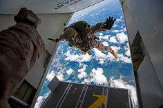 Marines assigned to Force Reconnaissance Platoon conduct a high altitude low opening HALO jump Louisburg NC 2015