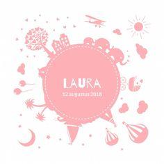 Geboortekaartje Wereldbol Laura voor