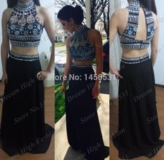 Sparkly black mermaid 2 piece prom dresses backless women real long formal evening gowns multi beaded dress to party new 2015