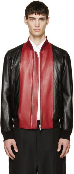 Alexander McQueen Black & Red Leather Bomber Jacket