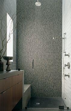 Selvaggio Stone Mosaic Shower in Nero - Bathrooms - Installation Showcase - Ann Sacks Tile & Stone