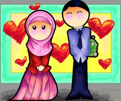 Muslims in Love (Muslim Husband and Wife Couple Drawing)