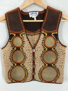 Vintage Harpees becerro piel cuero Hippie Boho tejer chaleco