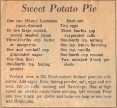 Old-Fashioned Soul Food Recipes | Sweet Potato Pie Recipe Clipping – (Yams) | RecipeCurio.com