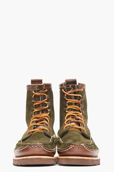 YUKETEN Olive Green Suede DB Moccasin Boots