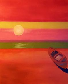 """""""Setting Sun"""" -  Colorful Expressionistic Landscape by Bhavna Misra"""