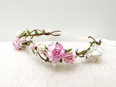 Rose flower crown headband soft pink and white/ wedding bridal flower girl floral headband/ delicate rustic pastel pink flower hair wreath by AbbeysBlooms on Etsy
