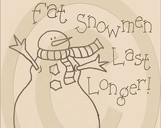 Primitive Snowman Pattern Primitive Doodle by MySpareTimeDesigns2