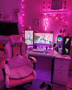Gaming Room Setup, Pc Setup, Gaming Rooms, Kawaii Bedroom, Otaku Room, Simple House Design, Cute Room Ideas, Game Room Design, Gamer Room