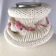 White Cowl // neckwarmer // handknit // double thick // neckwarmer // thick cowl // off-white cowl // winter white cowl // acrylic cowl by OrangeSmoothieKnits on Etsy