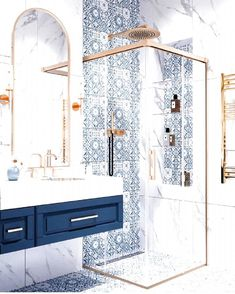 Dream Bathrooms, Beautiful Bathrooms, Small Bathroom, Bathroom Wall, Bling Bathroom, 1950s Bathroom, White Bathroom, Modern Bathroom, Disney Bathroom