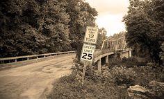 Route 66 - A steel truss bridge crosses the Piney River in Devil's Elbow, Missouri.