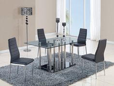 Shop Global Furniture Chrome Black Dining Room Set with great price, The Classy Home Furniture has the best selection of Dining Sets to choose from Black Dining Room Sets, Black Glass Dining Table, Stainless Steel Dining Table, Contemporary Dining Table, Dining Table In Kitchen, Dining Tables, Dining Sets, Dining Rooms, Furniture Dining Table