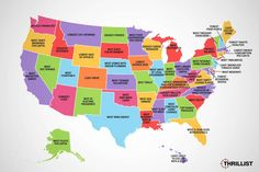 Map Shows Each American State's Claims to Fame U.s. States, United States, Long Cat, Roadside Attractions, Us Map, European Countries, North Dakota, Cartography, New Mexico