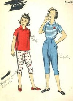 Vintage 1950s Advance 6930 Sewing Pattern Girls Clam Digger Pants Shirt  Summer Set size 10 Sewing 24e1c3605