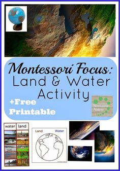 Land and Water Activity. Includes free printables. Montessori Nature Blog