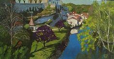 "Bourdeilles & River Dronne by Tom Foerster Oil ~ 15"" x 28.5"""