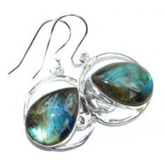 Perfect Modern Labradorite hammered Sterling Silver earrings