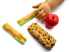 School Lunch Set: Granola Bar, Red Apple and Celery Sticks with Peanut Butter - Handmade Gourmet Doll Food For Your American Girl Doll. $6.95, via Etsy.