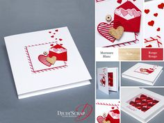"""by Djudi'Scrap - Tutoriel Ecrin, Boîte Chocolats « Thinlits Mots d'Amour / Love Notes Framelits Dies"""" Stampin Up, Scrapbooking, 3d Projects, Valentine Day Cards, Love Words, Party Favors, Mason Jars, Creations, Card Making"""