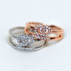 Gold Plated 925 Sterling Silver CZ Inlaid Double-row Ring