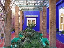 Majorelle Garden - a twelve-acre botanical garden and artist's landscape garden in Marrakech, Morrocco, designed by French artist Jacques Majorelle in the 1920s and 1930s.  Since 1980 the garden has been owned by Yves Saint-Laurent and Pierre Berge. In 2008, Yves Saint Laurent died, and his ashes scattered in the Majorelle Garden.  This garden houses the Islamic Art Museum of Marrakech, and collection of Saint-Laurent's personal collection and ceramics. (source: wikipedia.com)