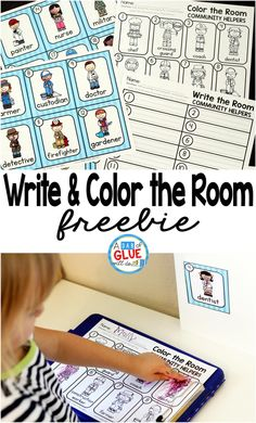 Community Helpers Write and Color the Room is the perfect addition to your community helper unit. This printable is great for preschool, kindergarten, and first grade students. via @dabofgluewilldo