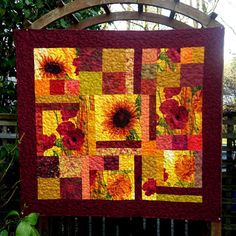 Sunflower Quilt Patchwork Lap Quilts by DesignerDahliasEtc on Etsy,