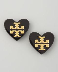 Logo Heart Stud Earrings, Black by Tory Burch at Bergdorf Goodman.
