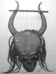 Lyre made from human skull and gazelle horns, central Africa.