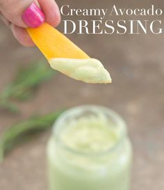 Avocado Dressing (Creamy And Vegan) Vegan Creamy avocado lime dressing Recipes. This is a healthy, dairy-free Salad dressing with good fat in it. Avocado Recipes, Vegan Recipes, Lime Recipes, Yummy Recipes, Vegan Avocado Dressing, Dairy Free Salads, Food Substitutions, Dressing Recipe, Whole Food Recipes