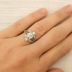 105 Carat Old European Cut Diamond Engagement by ErstwhileJewelry