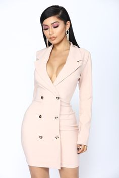 Feditch New Fashion Mini Summer Dress 2018 Pink Color V Neck Sex Dress Women Night club wear Robe Femme Party Dresses Vestido Blazer Outfits, Blazer Dress, Blazer Fashion, Dress Outfits, Fashion Outfits, Casual Blazer, Sleevless Blazer, Fashion Boots, Fashion Mode