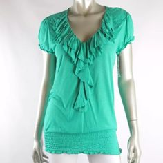 """NWT✨INC INTERNATIONAL CONCEPTS Mermaid Ruffle Top INC INTERNATIONAL CONCEPTS Mermaid Jade Ruffle V-neck Banded Hem Knit Top    Size: P/S  Manufacturer Color: Mermaid Jade  Condition: NWT     Sleeve Style: Cap  Closure:   Fabric Type: Knit  Material: 100% Rayon  Features:     Measurements taken un-stretched:  Armpit to armpit 17""""  Length 26"""" INC International Concepts Tops"""