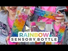 """A rainbow sensory bottle that is beautiful to look at and fun to enjoy. This bottle was inspired by the separation that occurs when you mix water and oil. I found myself wondering, """"well, wha… Rainbow Activities, Sensory Activities, Craft Activities For Kids, Therapy Activities, Infant Activities, Projects For Kids, Diy For Kids, Diy Projects, Baby Sensory Play"""