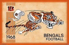 NFL Heritage Series CINCINNATI BENGALS Retro Logo c.1968 Official NFL Football Team Poster