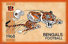 NFL Heritage Series CINCINNATI BENGALS Retro Logo c.1968 Official NFL Football Team Poster