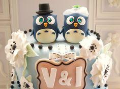 LOVE ANGELS Wedding Cake Topper-love bird with wood bridge